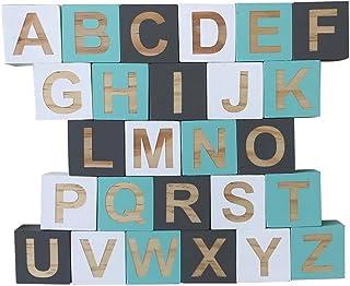 HOMYL Wooden 26 English Alphabet Letters Kids Educational Toys Embellishenments Reading & Writing Alphabet Blocks #B