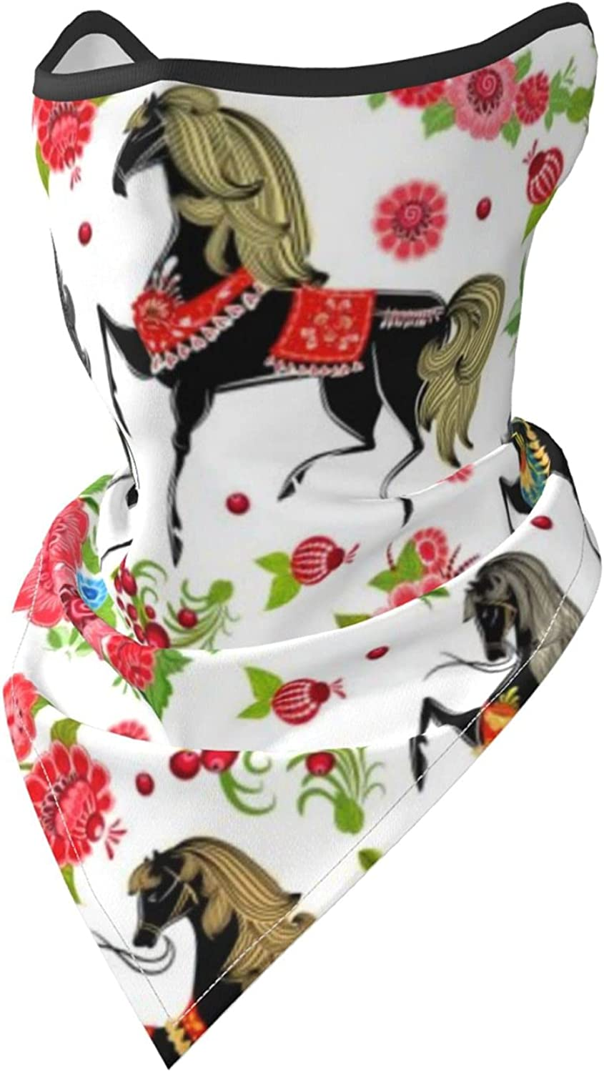 Flower Horse Print Breathable Bandana Face Mask Neck Gaiter Windproof Sports Mask Scarf Headwear for Men Women Outdoor Hiking Cycling Running Motorcycling