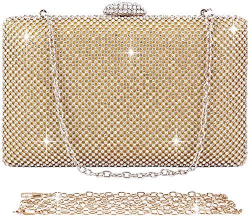 SYMALL Donna Pochette Festa Strass Clutch Cerimonia Cristallo Diamante Borsetta Elegante Borsa da Sera Con Catena per Matrimonio Sposa con Catena Staccabile, Oro