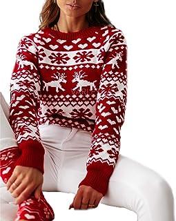 Suéter de Mujer Suéter de Punto de Manga Larga con Cuello Redondo y Estampado Floral para Mujer Blanco/Rojo