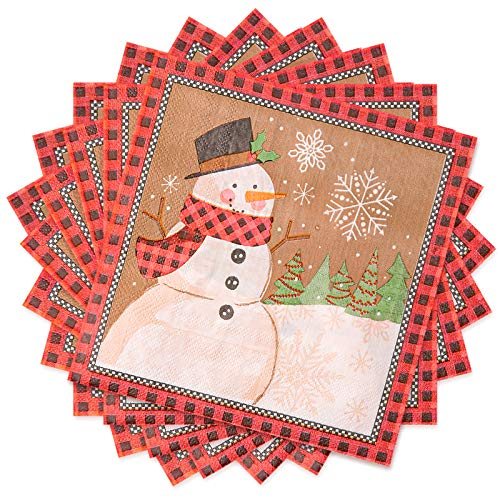 Whaline Christmas Paper Napkins 100 Sheet Snowman Pattern Cocktail Napkins Disposable Beverage Napkins for Christmas Holiday Dinner Party Supplies, 13' x 13'
