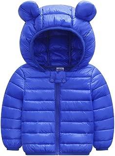 WUAI Toddler Baby Down Jackets Winter Cute Ears Hoodie Coats Windproof Lightweight Warm Puffer Jacket