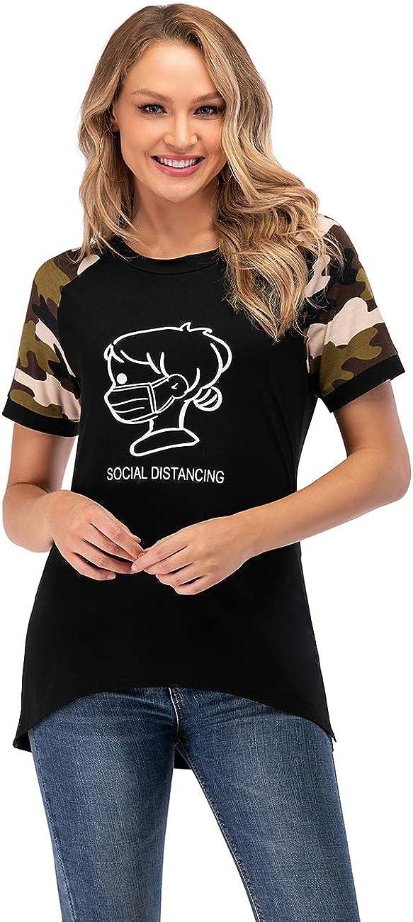 STIDY Women Casual Loose Tunic Top Printed Short Sleeve Side Split Hem T-Shirts