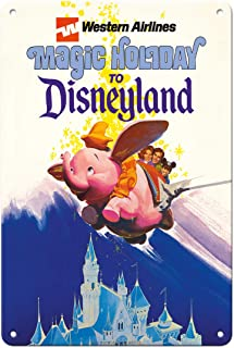Pacifica Island Art Disneyland Magic Holiday - Western Airlines - Dumbo The Flying Elephant - Vintage Airline Travel Poste...