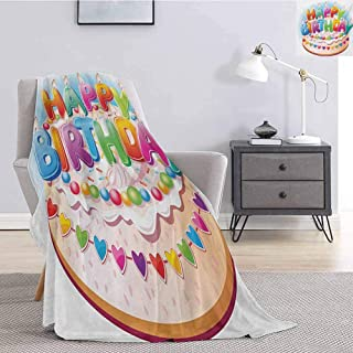 Luoiaax Kids Birthday Luxury Special Grade Blanket Cartoon Style Happy Birthday Party Image Cake Candles Hearts Design Print Multi-Purpose use for Sofas etc. W70 x L90 Inch Multicolor