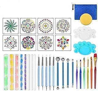 Wuudi 35 Kit Outils de Pointage de Mandala Pochoir Ensemble de Pinceau Pinceau de Peinture sur Pierre Peinture Dessin