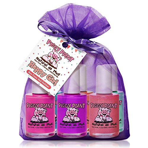Piggy Paint - 100% Non-Toxic Girls Nail Polish, Safe, Chemical Free, Low Odor for Kids - 6 Polish Gift Set - Happy Girl