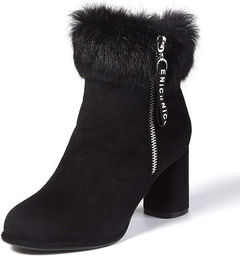 HBDLH Chaussures pour Femmes La Mode Velours La Hauteur du Talon 7Cm Bottes D'épaisseur des Talons Double Fermetures éclair Martin Bottes