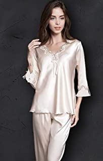 JKFS Homewear de Las señoras Pijama de Dos Piezas para Mujer Pijamas Mujer Mujer Pantalones Mujer Traje de Seda de Hielo Pijamas de Seda de Manga Larga Pijamas de Encaje Fino Servicio a Domicilio