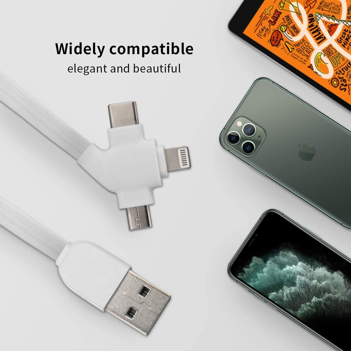 2x2x0.8 Micro USB Cable Particular Colorful Supplies Pencils 3-in-1 Retractable USB Cable Type C Sync Fast Charging Cord for All Phone Tablets Mini Square