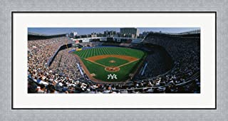 High Angle View of a Baseball Stadium, Yankee Stadium, New York City, New York State, USA by Panoramic Images Framed Art Print Wall Picture, Flat Silver Frame, 35 x 19 inches