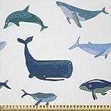 ABAKUHAUS Wal Stoff als Meterware, Schwimmen Meerestiere,
