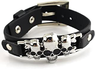 Jewelry Unique Anime Series Wrist Belt Buckle Style Black Pu Leather Cuff Bangle Bracelet for Men