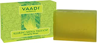 Neem Soap (Neem Tulsi Bar Soap) DOUBLE SIZE - Handmade Herbal Soap (Aromatherapy) with 100% Pure Essential Oils - ALL Natural - Best Anti-aging Therapy - Each 5.3 Oz - Pack of 3 (1 Lb) - Vaadi Herbals