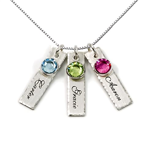 df6573c14 AJ's Collection Unity in Three Personalized Charm Necklace. Customize 3  Sterling Silver Rectangular Pendants with