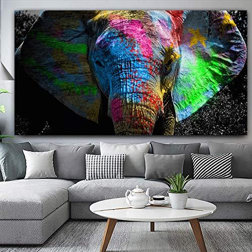QWESFX Bunte Elefantenmalerei Tierplakat Ölgemälde auf Leinwand Wandkunst Raumdekoration Bild für Hoom (Druck ohne Rahmen) B 40x60CM