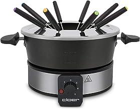 Cloer 6679 Fondue pour 8 personnes avec couvercle anti-éclaboussures, 8 fourchettes de 1,5 l, 1000 W, argenté/noir