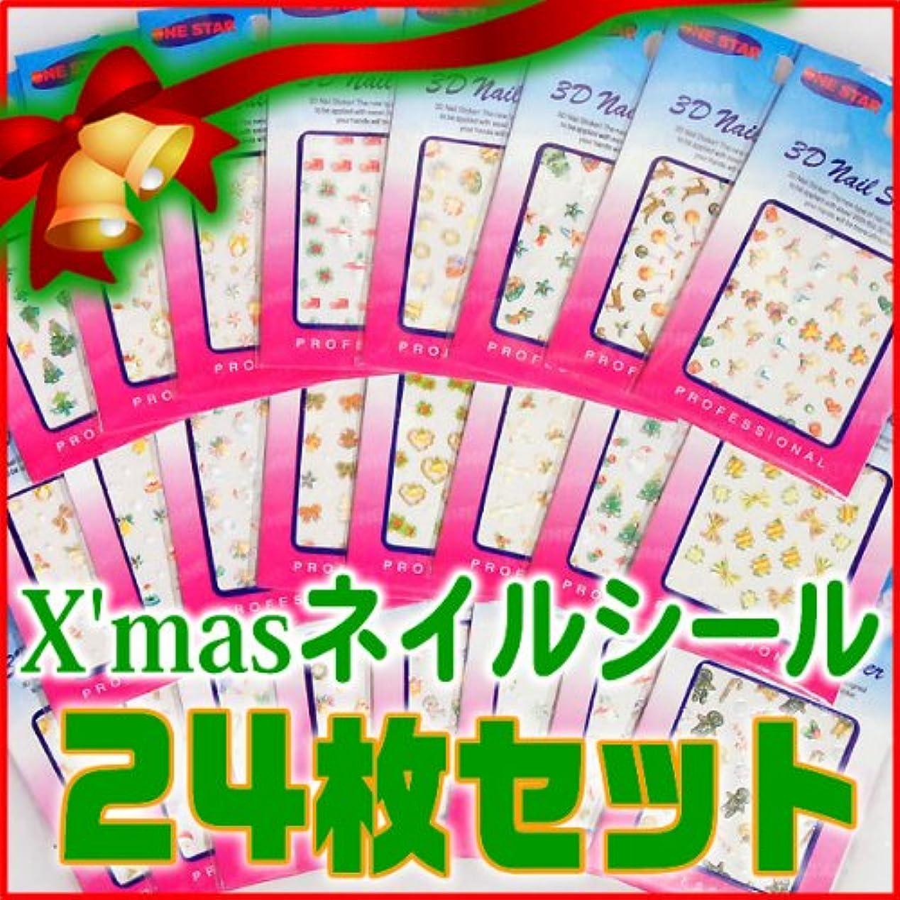 丁寧計画的計画ネイルシール 福袋 クリスマスネイルシール24枚セット