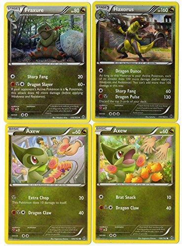 Evolution Set - HAXORUS FRAXURE AXEW - Breakthrough 111/162 - Dragon Type - Holo Rare Card LOT