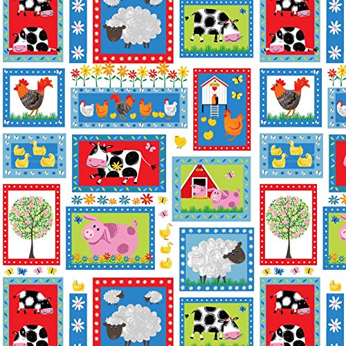 Henry Glass Best Friends Farms Lots of Farm Animals Cotton Fabric