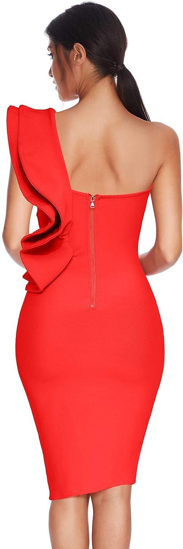 meilun Womens One Shoulder Ruffles Side Split Bodycon Bandage Club Party Dress