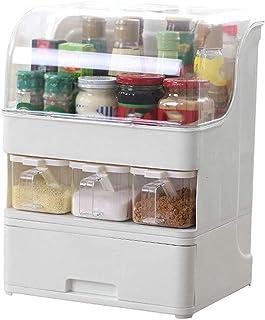 SCDZS Cuisine multifonctionnelle de boîte de rangement d'assaisonnement avec boîte d'assaisonnement de tiroir transparente...