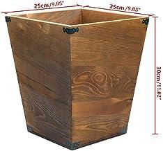 Recycling Bin Wood Trash Can Wastebasket for Bedroom Dorm Office Restaurant Kitchen Trash Bin Waste Can Brown Recycling Bi...