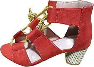 Voberry shoes Rome Women Summer High Heels Shoes Hemp Rope Ankle Strap Open Toe Sandals Red