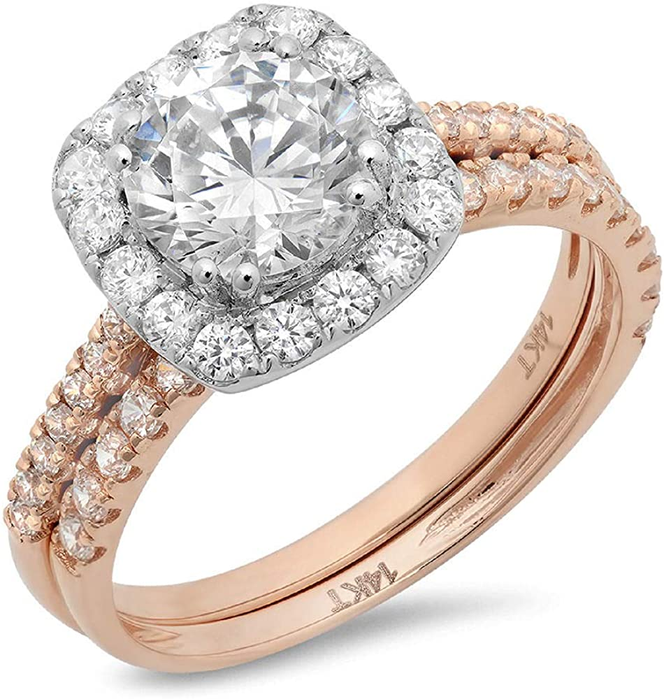 Clara Pucci 2.25ct Round Cut Halo Pave Solitaire Halo Accent Genuine Flawless Moissanite Engagement Promise Statement Anniversary Bridal Wedding Ring Band set Solid 18K 2 Tone Gold