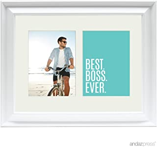 Andaz Press Double White 5x7-inch Photo Frame, Best Boss Ever, 1-Pack, Christmas Birthday Picture Gift Wall Art
