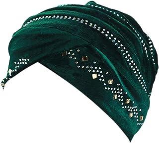 DOLDOA Hut Damen Sommer,Damen Perlen Turban Hut muslimischen Krebs Chemo Haarausfall Cap