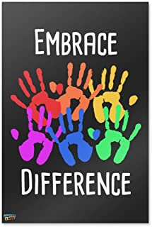 Graphics and More Embrace Difference Autism Hand Prints Home Business Office Sign - Poster - 24