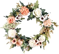 Autumn Wreath Chic Door Wreath Artificial Front Door Begonia Rose Wreath Decor 40 cm Best for Front Door, Wedding, Wall, H...