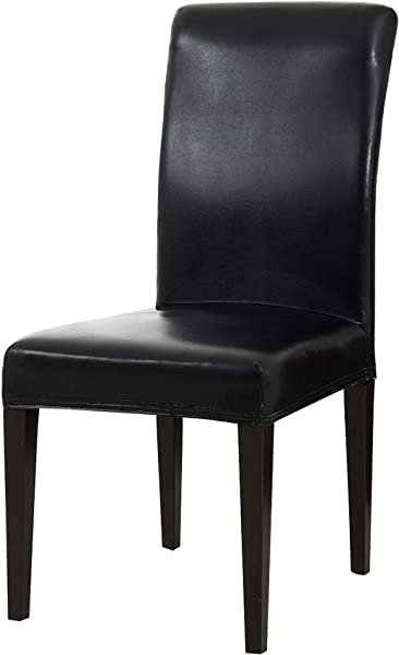 TIKAMI Dining Chair Seat Protector PU Leather Waterproof Oil Proof Chair Covers For Dining Room Kitchen Chair Protector Slipcovers 4PCS Black