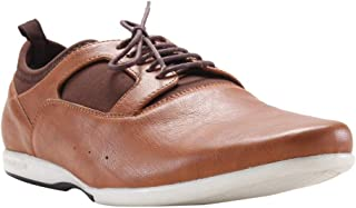 Franco Leone Men's Tan Lace-up Casual Shoes