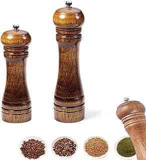 ZITTEE ペッパーグラインダー 木製 塩コショウグラインダー 調節可能なセラミックローター付き 無味で錆びない 高さ8インチと5インチ 天然オーク材 2個セット