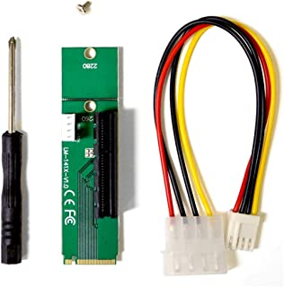 Anxus NGFF M.2 to PCI-E PCI Express 4X 1x Slot Riser Card Adapter M.2 Key-M Adapter Converter with 4 PIN Power Cable for ETH ZEC BTC Mining Machine