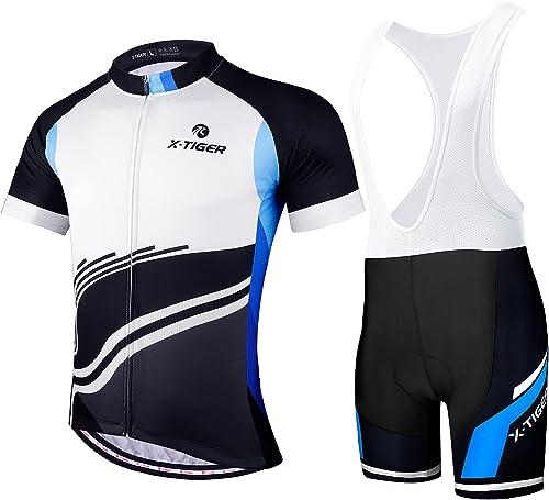 X-TIGER Maillot de Cyclisme Manches Courtes Homme avec Cuissard à Bretelle 5D Gel Rembourré,VTT Courtes Respirant Vêt...