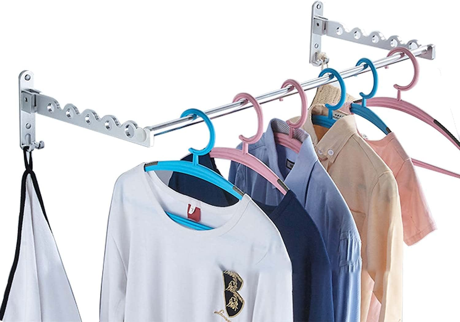 FChome Wall Mounted Popular shop is the lowest Import price challenge Clothes Drying Rack 2 with Foldin Racks Rod