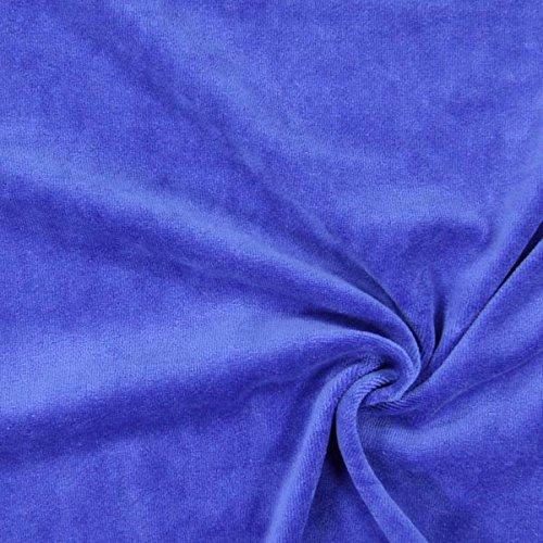 Nicki Stoff Uni – königsblau — Meterware ab 0,5m — zum Nähen von Kissen/Tagesdecken, Hauskleidung & Sport/Funktion