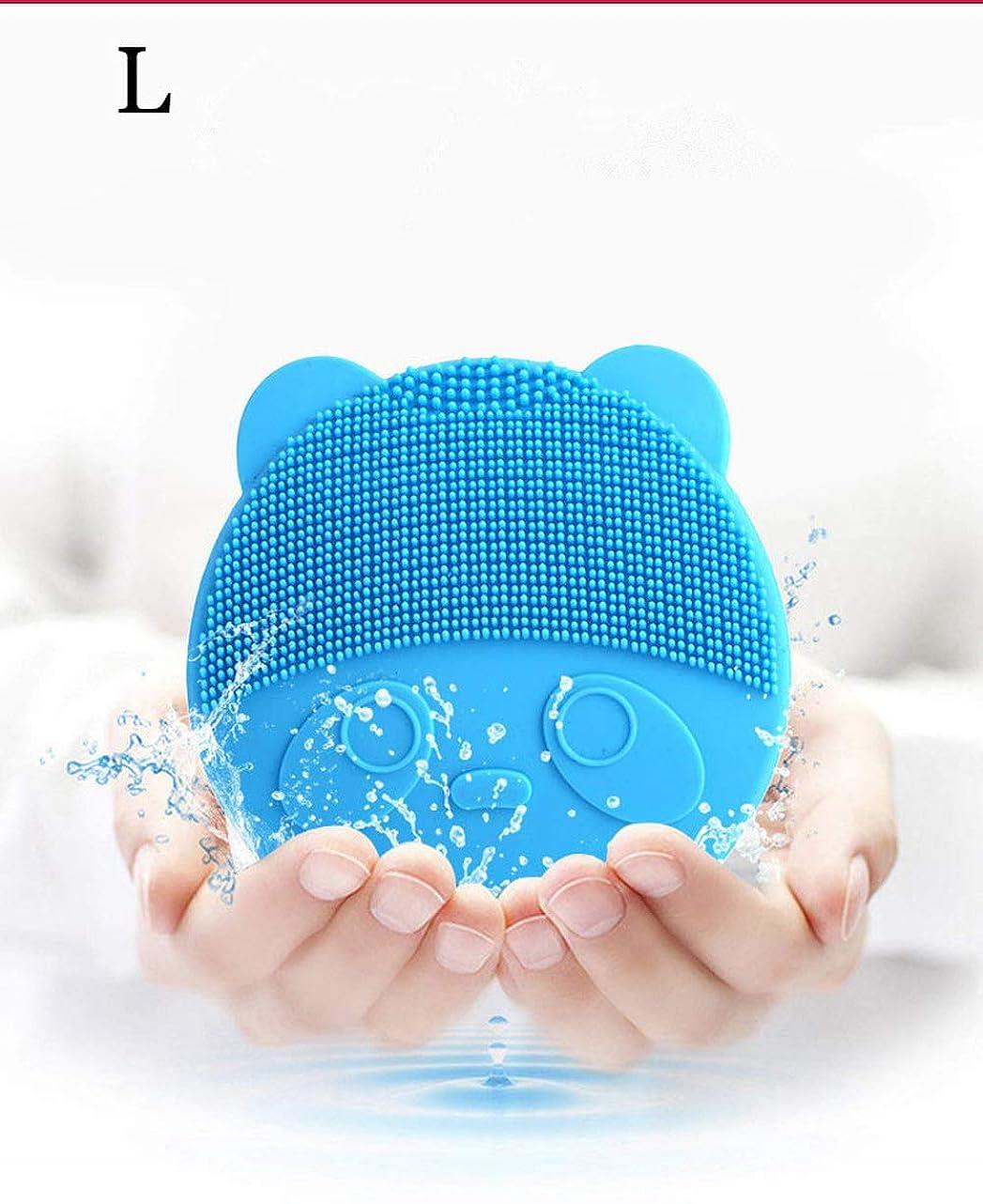 電動クレンジングブラシ、シリコンクレンジングブラシポータブル防水アンチエイジングスキンケアマッサージ電動ブラシは、古い角質を優しく除去して肌??をリフレッシュします(青)