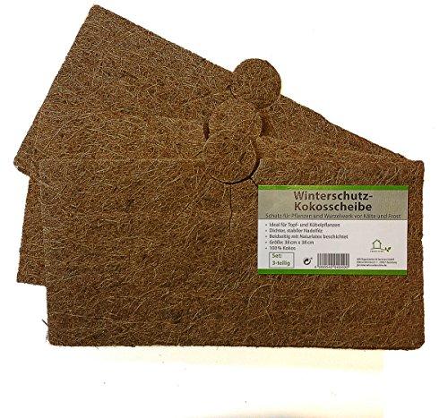 Protection plantes disque de paillage en fibres, coco disque protection d'hiver pour plantes en pot 38 x 38 cm – 3 pièces