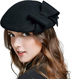 Women's Wool French Bowknot Beret Hat Autumn Winter Vintage Warm Beanie Cap