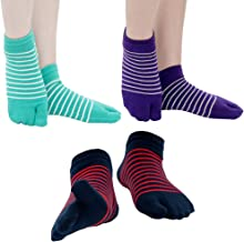 Footful 3 Paia Calze Elastiche 2-punta Flip Flop Tabi Calzini