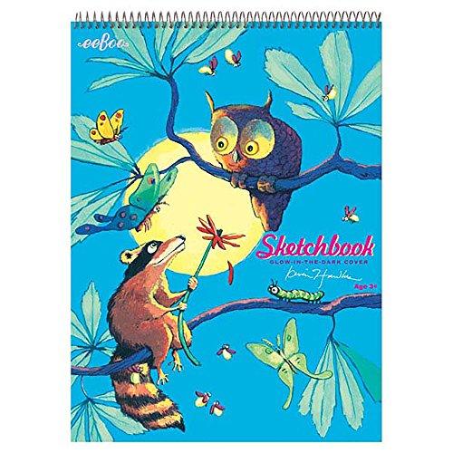 eeBoo 4687781 Sketchbook, Skizzenbuch mit Spiralbindung, 30 blanko Blätter, Malblock, Geschenk für Kinder, Motiv: Eule und Waschbär, Mehrfarbig
