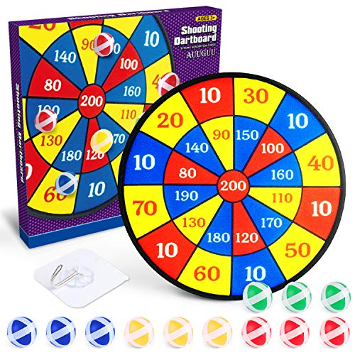 """AUUGUU Dart Board Game for Kids – 14"""" Dartboard with 12 Sticky Balls – Indoor Fun for up to 4 Players with Safe HookandLoop Dart Balls – Promotes Exercise HandEye Coordination and Math Skills"""