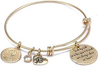 AgeXinjo Expandable WireBangle Bracelet Engraved Stainless Steel Virgin Mary Pendant Tree of Life Bracelet for Women Love...
