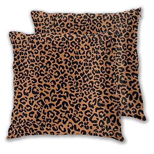 BROWCIN 2 Pack Funda de Almohada Impresión de Patrones sin Fisuras de Leopardo Lino Suave Cuadrado Sofá Cama Decoración Hogar para Cojín 30cm x 30cm