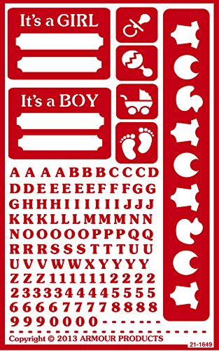 Armour Products Over N Over Glass Etching Stencil, 5-Inch by 8-Inch, It's a Boy It's a Girl