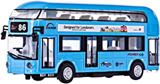 HMANE Pull Back Cars Alloy Double Decker School Bus Construction Vehicles Mini Model Car Toys with Light for Kids Boys Girls Toddlers - (Blue)